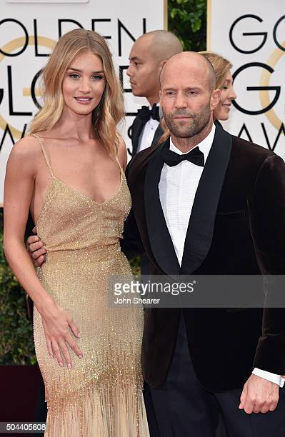 Model Rosie HuntingtonWhiteley and actor Jason Statham attend the 73rd Annual Golden Globe Awards held at the Beverly Hilton Hotel on January 10 2016...