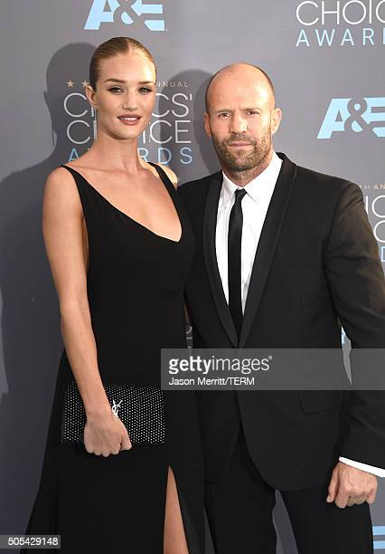 Model Rosie HuntingtonWhiteley and actor Jason Statham attend the 21st Annual Critics' Choice Awards at Barker Hangar on January 17 2016 in Santa...