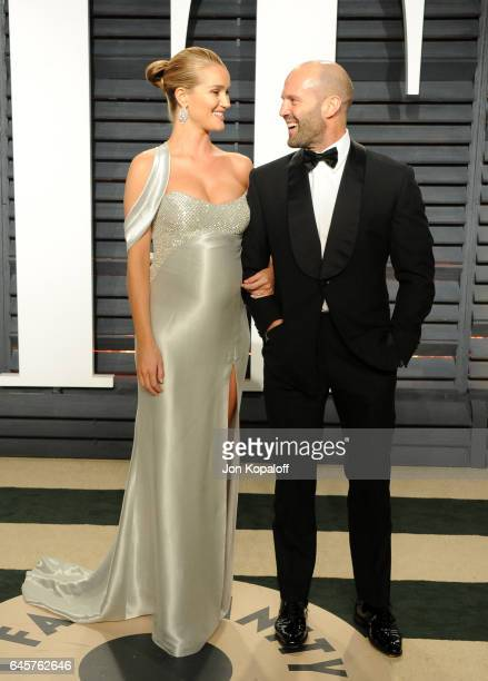 Model Rosie HuntingtonWhiteley and actor Jason Statham attend the 2017 Vanity Fair Oscar Party hosted by Graydon Carter at Wallis Annenberg Center...