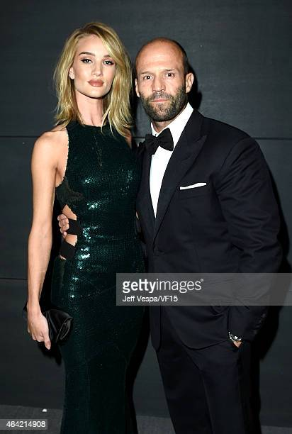Model Rosie HuntingtonWhiteley and model Jason Statham attend the 2015 Vanity Fair Oscar Party hosted by Graydon Carter at the Wallis Annenberg...