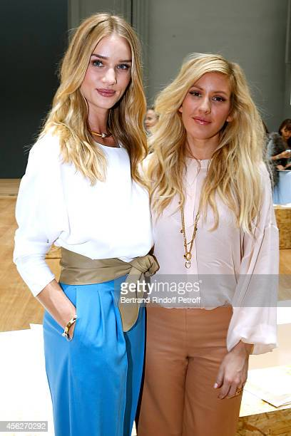 Model Rosie HuntingtonWhiteley and singer Ellie Goulding attend the Chloe show as part of the Paris Fashion Week Womenswear Spring/Summer 2015 on...