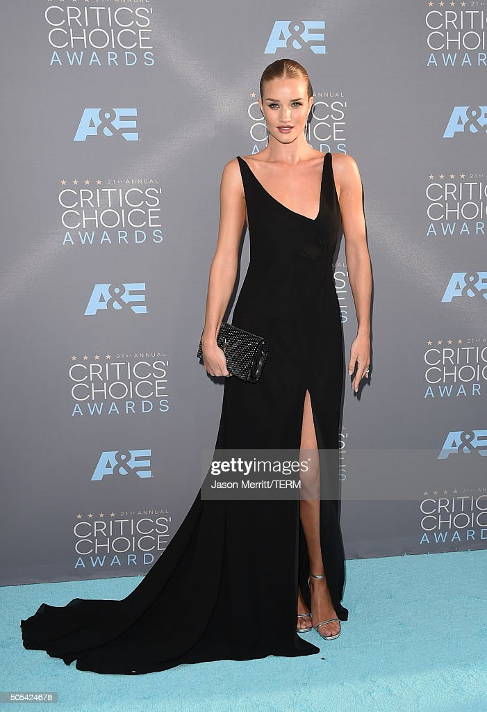 Model Rosie HuntingtonWhiteley attends the 21st Annual Critics' Choice Awards at Barker Hangar on January 17 2016 in Santa Monica California