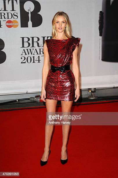 Model Rosie HuntingtonWhiteley attends The BRIT Awards 2014 at 02 Arena on February 19 2014 in London England