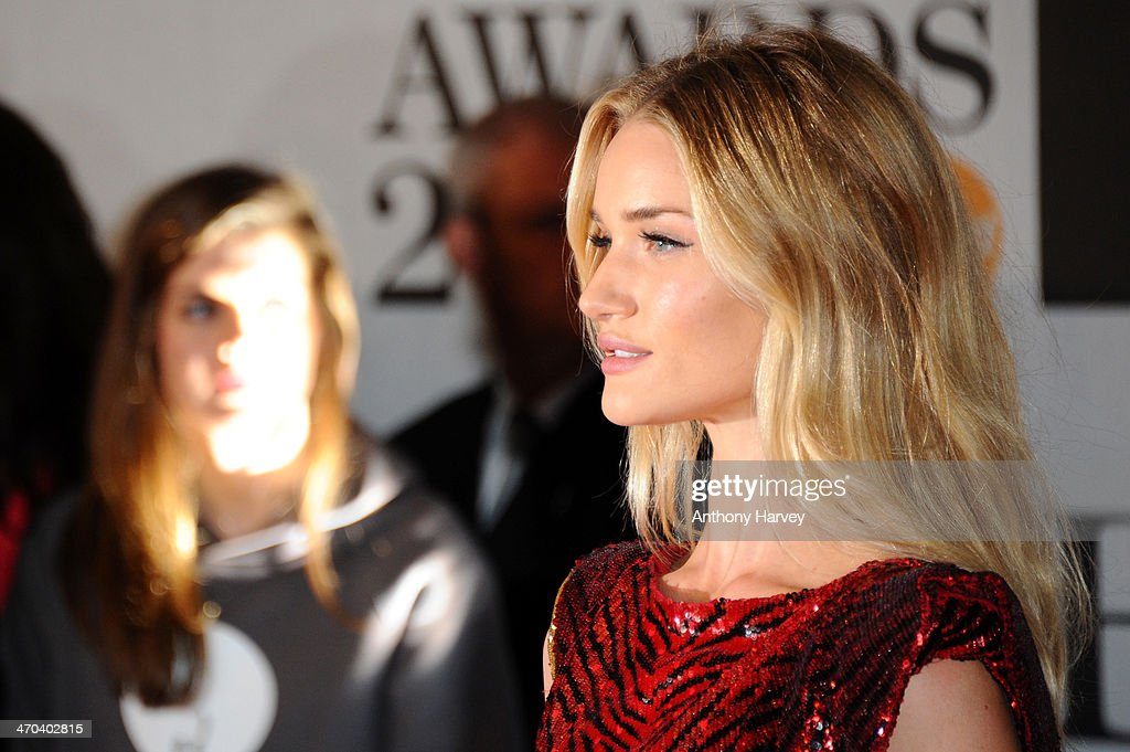 Model Rosie Huntington-Whiteley attends The BRIT Awards 2014 at 02 Arena on February 19, 2014 in London, England.