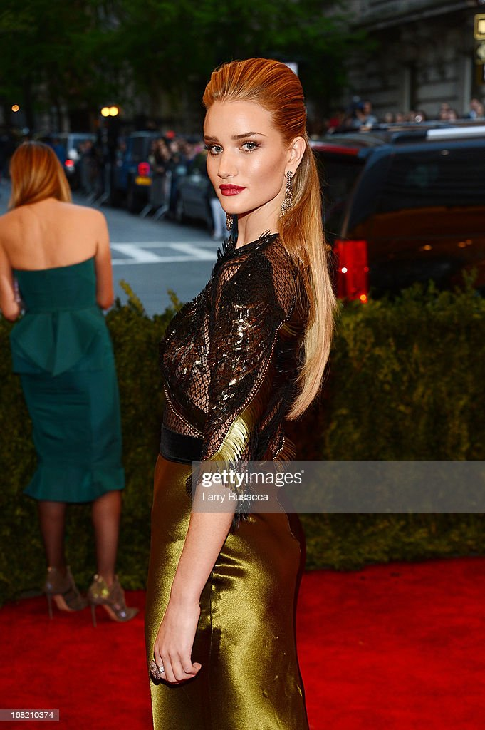 Model Rosie Huntington-Whiteley attends the Costume Institute Gala for the 'PUNK: Chaos to Couture' exhibition at the Metropolitan Museum of Art on May 6, 2013 in New York City.