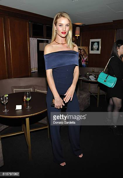 Model Rosie HuntingtonWhiteley attends The Hollywood Reporter and Jimmy Choo's Power Stylists Dinner at Sunset Tower on March 15 2016 in Los Angeles...