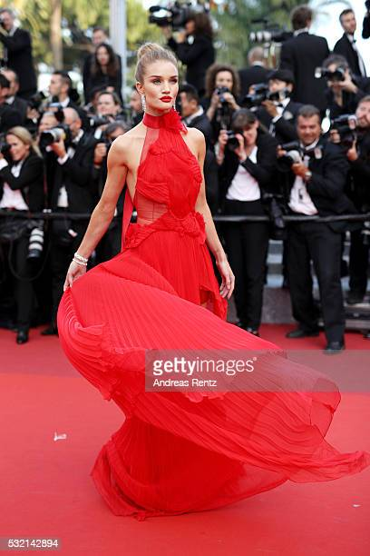 Model Rosie HuntingtonWhiteley attends 'The Unknown Girl ' Premiere during the 69th annual Cannes Film Festival at the Palais des Festivals on May 18...