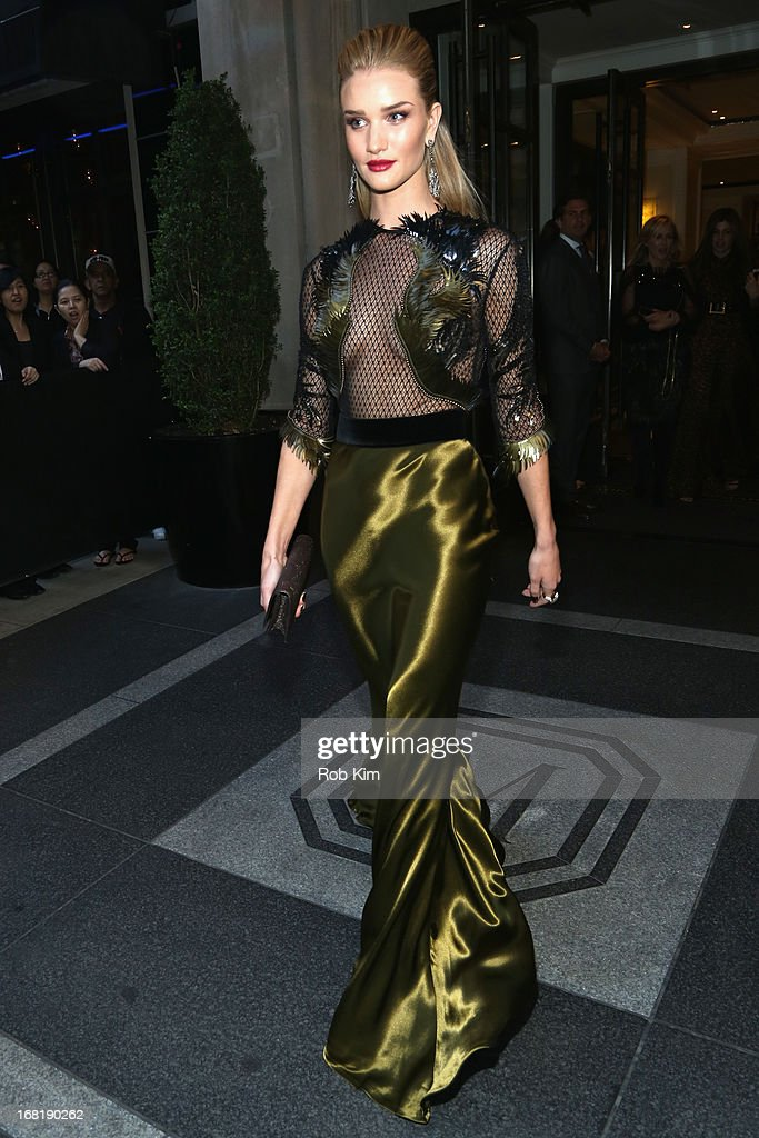 Model Rosie Huntington-Whiteley departs the Mark Hotel for the 'PUNK: Chaos To Couture' Costume Institute Gala at the Metropolitan Museum of Art on May 6, 2013 in New York City.