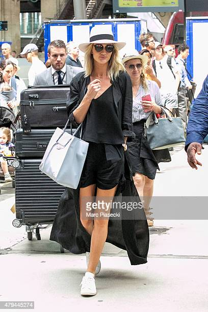 Model Rosie HuntingtonWhiteley is seen at Gare Du Nord Station on July 4 2015 in Paris France