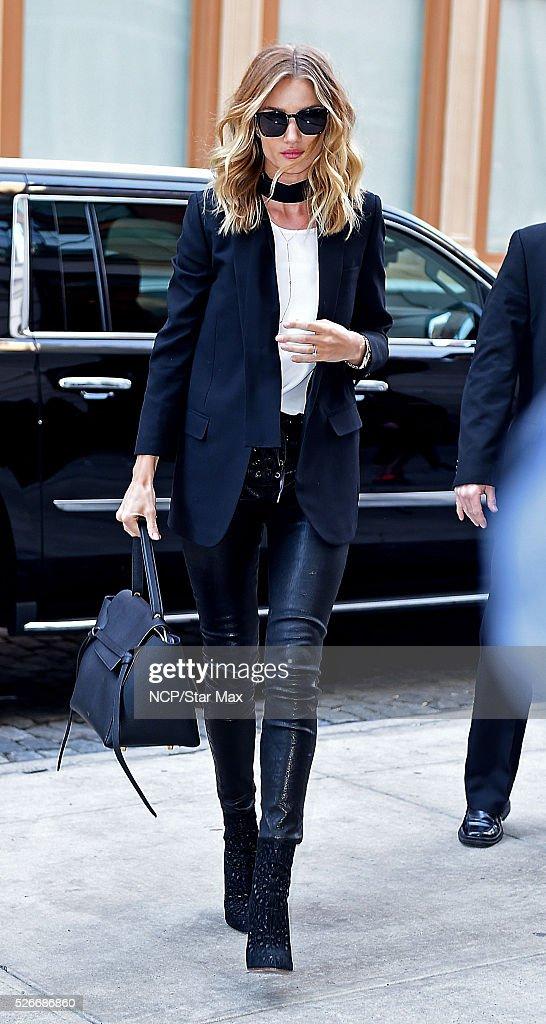 Model Rosie Huntington-Whiteley is seen on April 30, 2016 in New York City.