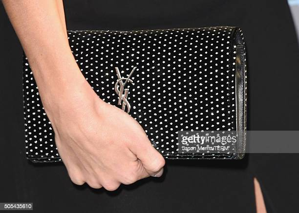 Model Rosie HuntingtonWhiteley purse detail attends the 21st Annual Critics' Choice Awards at Barker Hangar on January 17 2016 in Santa Monica...
