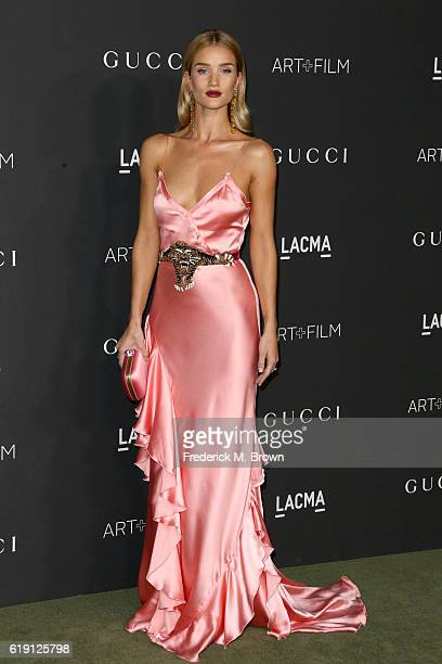 Model Rosie HuntingtonWhiteley wearing Gucci attends the 2016 LACMA Art Film Gala honoring Robert Irwin and Kathryn Bigelow presented by Gucci at...