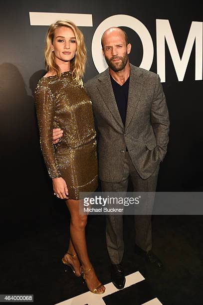 Model Rosie HuntingtonWhiteley wearing TOM FORD and actor Jason Statham attend the Tom Ford Autumn/Winter 2015 Womenswear Collection Presentation at...