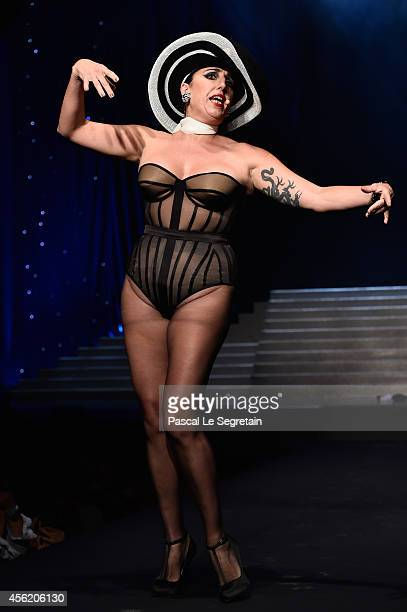 Model Rossy de Palma walks the runway during the Jean Paul Gaultier show as part of the Paris Fashion Week Womenswear Spring/Summer 2015 on September...