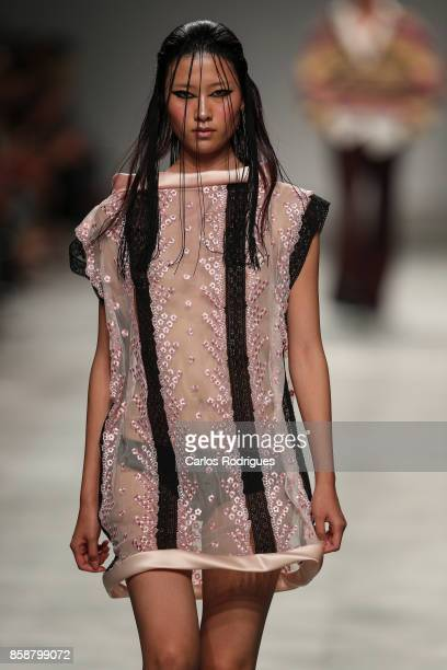 Model runs the catwalk during Dino Alves fashion show during Lisboa Fashion Week 'ModaLisboa' 2017 on October 7 2017 in Lisboa CDP Portugal