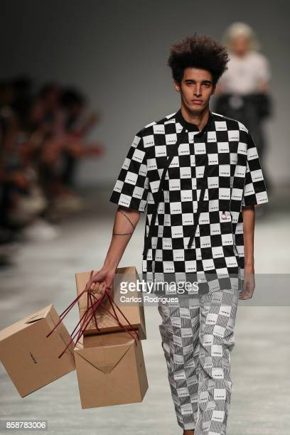 Model runs the catwalk during Ricardo Andrez fashion show during Lisboa Fashion Week 'ModaLisboa' 2017 on October 7 2017 in Lisboa CDP Portugal