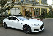 A Model S by US electric car maker Tesla is displayed on September 25 2014 during a press presentation in Paris The Paris Motor Show will open to the...