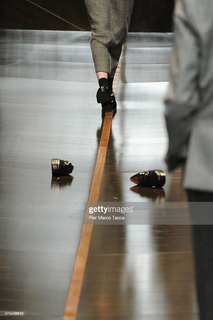 Model 's shoes on the runway during the Trussardi show as part of Milan Fashion Week Womenswear Autumn/Winter 2014 on February 23, 2014 in Milan, Italy.