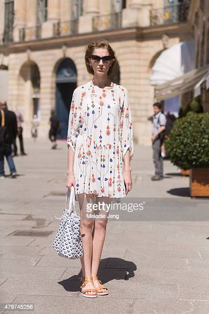Model Sabina Lobova on July 6 2015 in Paris France