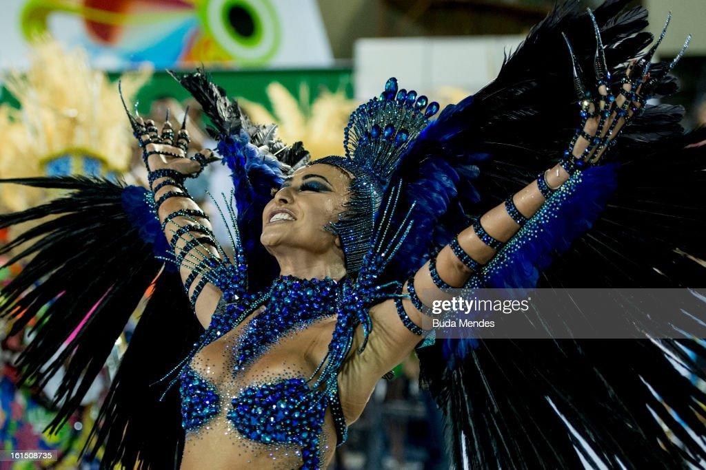 Model Sabrina Sato of Unidos de Vila Isabel during Carnival 2013 at Sambodrome Marques da Sapucai on February 12, 2013 in Rio de Janeiro, Brazil.