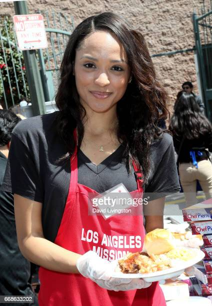 Model Sal Stowers attends Los Angeles Mission's Easter Celebration at Los Angeles Mission on April 14 2017 in Los Angeles California