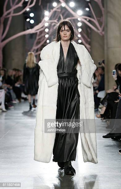 Model Sam Rollinson walks the runway at the Preen by Thornton Bregazzi show during London Fashion Week Autumn/Winter 2016/17 at TopShop Show Space on...