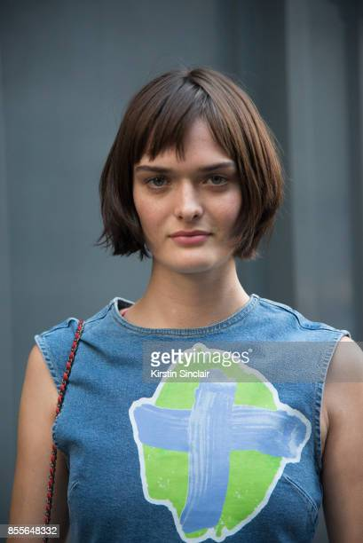 Model Sam Rollinson wears a Henry Holland dress on day 2 of London Womens Fashion Week Spring/Summer 2018 on September 16 2017 in London England