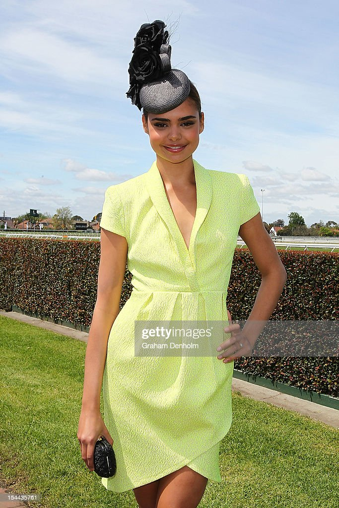 Model Samantha Harris attends Caulfield Cup Day at Caulfield Racecourse on October 20, 2012 in Melbourne, Australia.