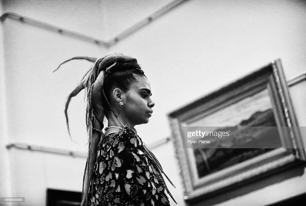 Model Samantha Harris showcase designs during the Romance was Born show during MercedesBenz Fashion Week Australia 2015 at Art Gallery of New South...