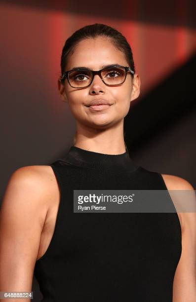 Model Samantha Harris showcases designs from the Kylie Minogue eyewear collection for Specsavers at the Establishment Ballroom on March 7 2017 in...