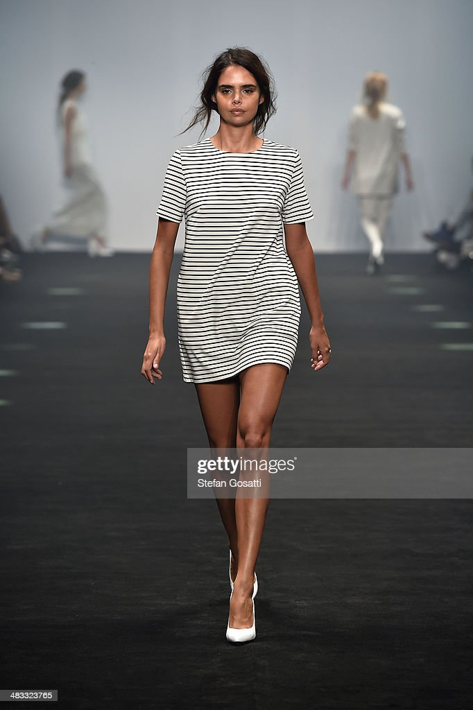 Model Samantha Harris walks the runway at the Cameo show during Mercedes-Benz Fashion Week Australia 2014 at Carriageworks on April 8, 2014 in Sydney, Australia.