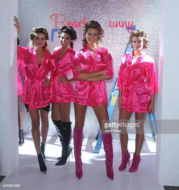 Model Samantha Hoopes and fellow models rehearse at the Beach Bunny Featuring The Blonds show during MercedesBenz Fashion Week Swim 2015 at Cabana...