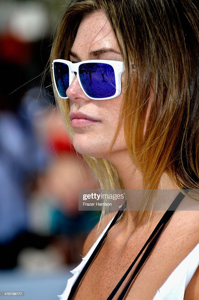 Model Samantha Hoopes attends Sports Illustrated Swimsuit Beach Volleyball Tournament on Ocean Drive at Miami Beach on February 20, 2014 in Miami, Florida.