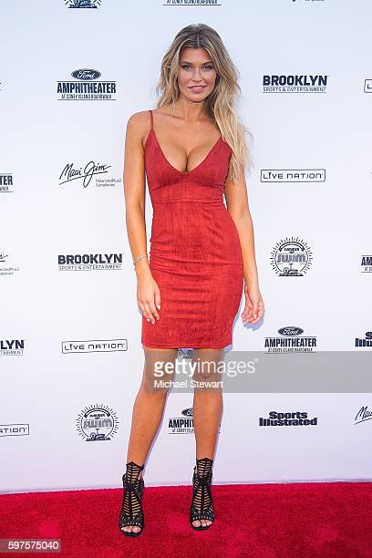 Model Samantha Hoopes attends the 2016 Sports Illustrated Summer of Swim Fan Festival Concert at the Ford Amphitheater at Coney Island Boardwalk on...