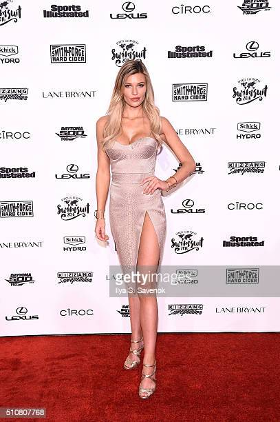 Model Samantha Hoopes poses on the red carpet to team up with Schick Hydro to celebrate the launch of the 2016 Sports Illustrated Swimsuit Issue on...
