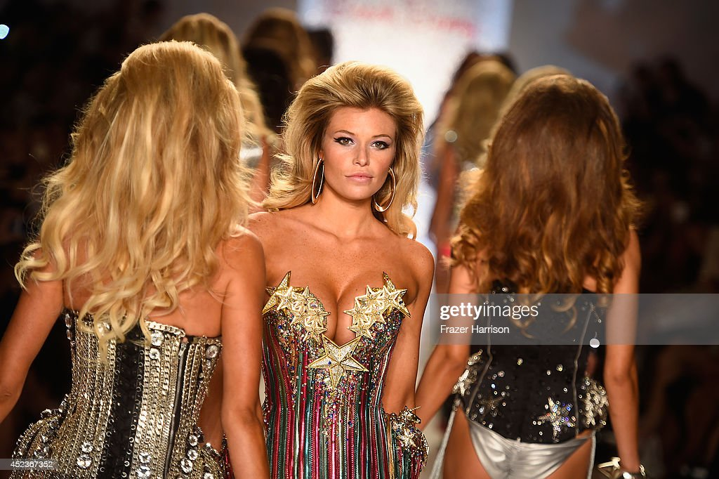 Model Samantha Hoopes walks the runway at the Beach Bunny Featuring The Blonds show during MercedesBenz Fashion Week Swim 2015 at Cabana Grande at...