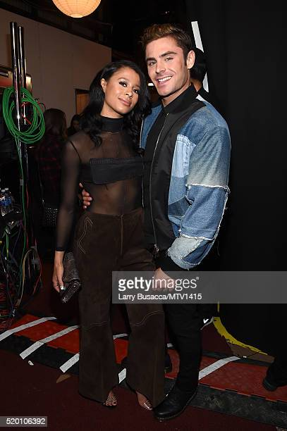 Model Sami Miro and actor Zac Efron attend the 2016 MTV Movie Awards at Warner Bros Studios on April 9 2016 in Burbank California MTV Movie Awards...