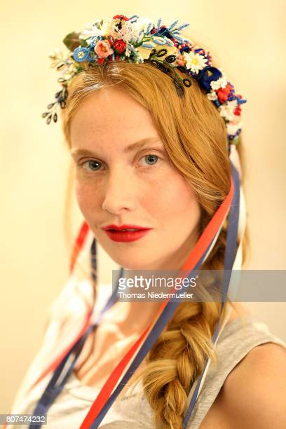Model Sandra Hunke is seen backstage ahead of the Lena Hoschek show during the MercedesBenz Fashion Week Berlin Spring/Summer 2018 at Kaufhaus...