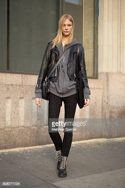 Model Sanna Backstronm is seen on 14th Street wearing an Allsaints jacket Calvin Klein jeans Rag Bone boots and Boyy bag on January 31 2016 in New...
