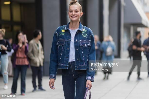 Model Sanne Vloet seen in the streets of Manhattan outside Cushnie Et Ochs during New York Fashion Week on September 8 2017 in New York City
