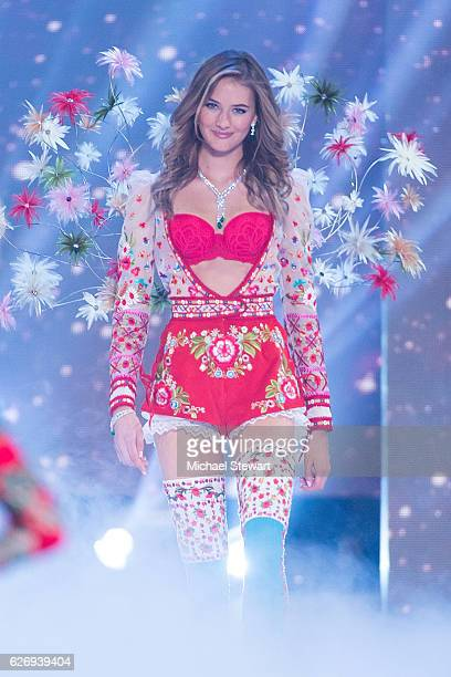Model Sanne Voet walks the runway during the 2016 Victoria's Secret Fashion Show at Le Grand Palais in Paris on November 30 2016 in Paris France