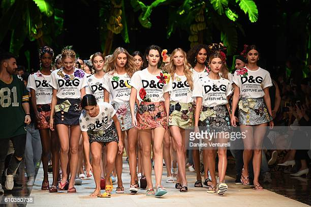 A model Sara Sampaio and Hailey Baldwin walk the runway at the Dolce And Gabbana show during Milan Fashion Week Spring/Summer 2017 on September 25...