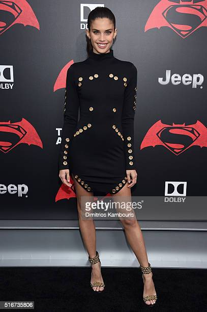 Model Sara Sampaio attends the 'Batman V Superman Dawn Of Justice' New York Premiere at Radio City Music Hall on March 20 2016 in New York City