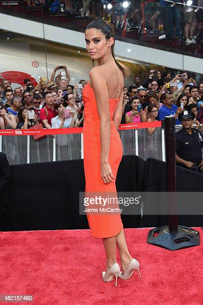 Model Sara Sampaio attends the 'Mission Impossible Rogue Nation' New York premiere at Duffy Square in Times Square on July 27 2015 in New York City