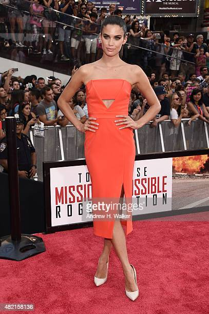 Model Sara Sampaio attends the New York premiere of 'Mission Impossible Rogue Nation' at Duffy Square in Times Square on July 27 2015 in New York City