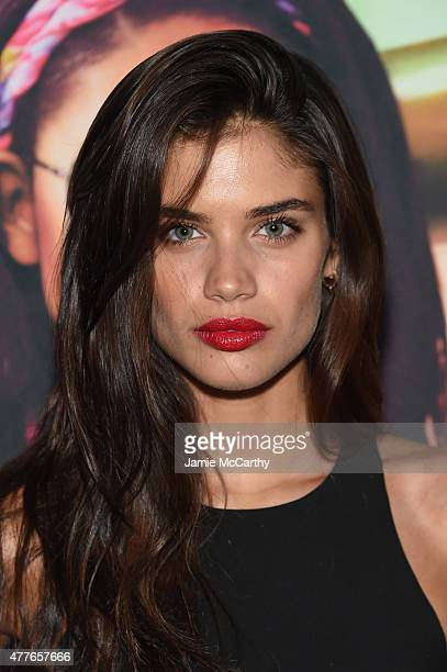 Model Sara Sampaio attends the Sunglass Hut celebration 'Electrify Your Summer' with Georgia May Jagger Chanel Iman Nick Fouquet on June 18 2015 in...