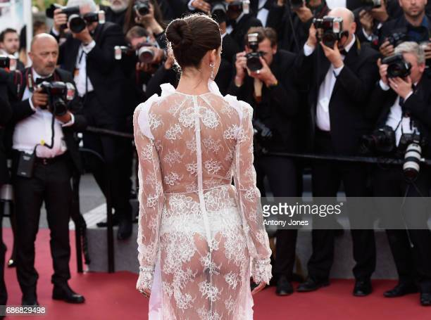 Model Sara Sampaio attends the 'The Killing Of A Sacred Deer' screening during the 70th annual Cannes Film Festival at Palais des Festivals on May 22...