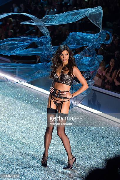 Model Sara Sampaio walks the runway during the 2016 Victoria's Secret Fashion Show at Le Grand Palais in Paris on November 30 2016 in Paris France