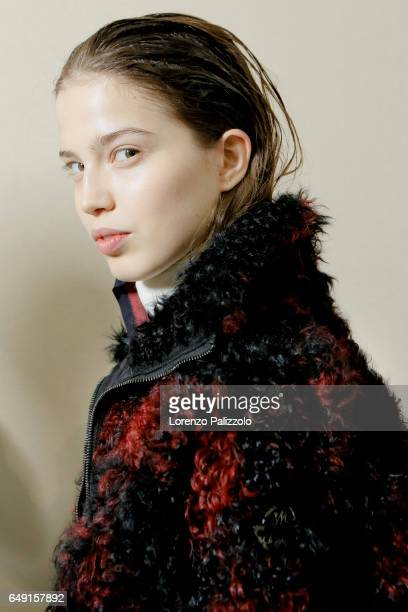 Model Sara Witt is seen backstage before the Moncler Gamme Rouge show as part of the Paris Fashion Week Womenswear Fall/Winter 2017/2018 on March 7...