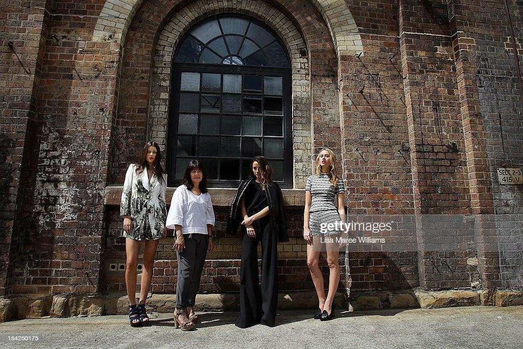 Model Sarah Burns, Designer Lisa Ho, Model Chelsea Trotter and Designer Kym Ellery pose at Carriageworks on October 17, 2012 in Sydney, Australia. IMG today announced Carriageworks as the new host venue of Mercedes-Benz Fashion Week Australia.